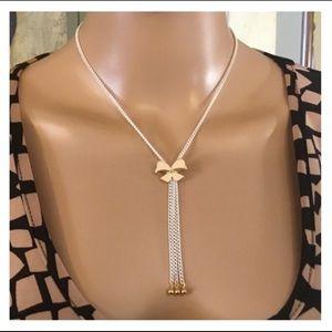 Jewelry - Cute Gold & Cream Bow White Chain Tassel Necklace